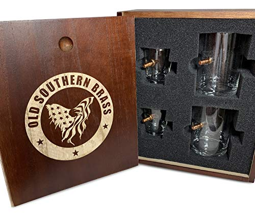 .308 Authentic Solid Copper Projectile Whiskey Shot Glass Set - Real Wood Gift Box