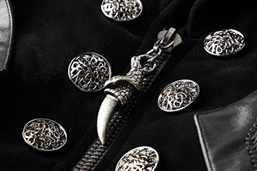 37d6b56a38d9 Punk Rave Long Manteau Noir en Velours pour Homme avec Petite Cape et  Ceinture, Gothique  Amazon.fr  Vêtements et accessoires