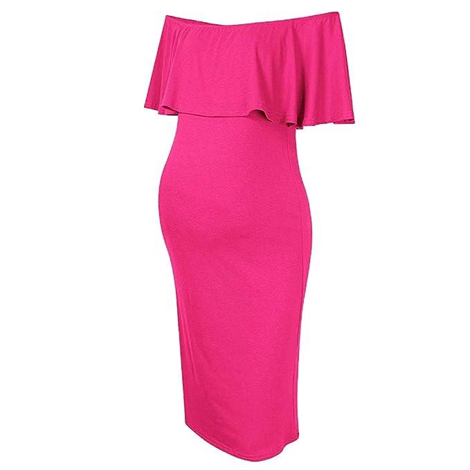 220d06698f780 Women's Off Shoulder Ruffle Plain Maternity Dress Bodycon Midi Dress for  Daily Wear Baby Shower Hot