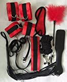 Handcuffs kit(red) - Under Bed System (11 in 1) - Hand Cuffs Set Including Soft Adjustable Hand Ankle Wrist Leg Cuffs, Eye Mask Blindfold & Other Fun Toys - Handcuffs For Women Men