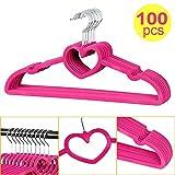 go2buy Heart Shape Non Slip Velvet Hangers,100 pack, Pink