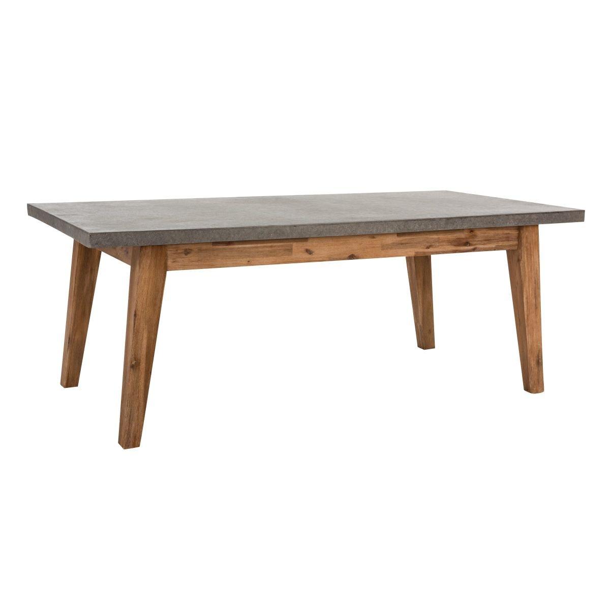 Amazon.de: Gartentisch mit Tischplatte in Betonoptik Akazienholz ...