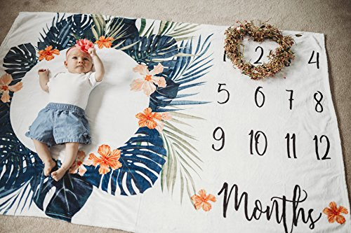 Premium Minky Fleece Monthly Baby Milestone Photo Prop Blanket| Thick Wrinkle & Fade Resistant|Best Baby Shower Gift. Perfect Way to Take Trendy Floral Infant & Newborn Photographs| 60'' X 40'' by Totminds (Image #4)