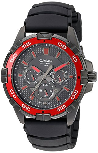 Casio Men's MTD1069B-1A2 Round Analog Black and Red Dial and Black Resin Strap Watch