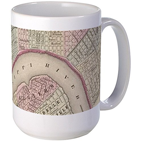 New Orleans Beer Mug - CafePress - Vintage Map Of New Orleans (1880) Mugs - Coffee Mug, Large 15 oz. White Coffee Cup