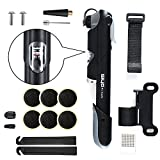 Zoegate Premium Mini Bike Pump 120 Psi Telescopic Bicycle Cycling Pump Tyre Repair Tool Kit Patch Kit & Tire Levers & Glueless Puncture Repair Kit & Frame Mount & Ball Needle,Compatible with both Presta and Schrader