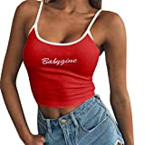 Psunrise Arriba Women Summer Camis Slim Letter Printing Sleeveless Strappy Crop Top T-Shirt Blouse(S, Red)