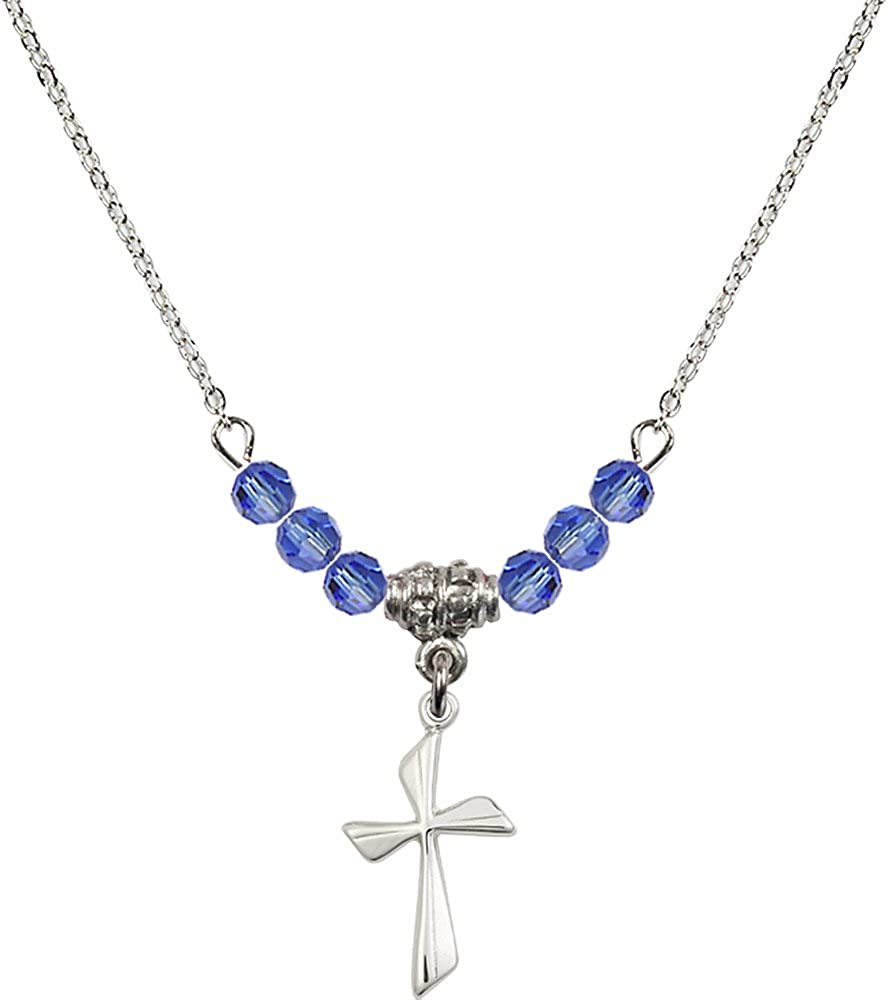 18-Inch Rhodium Plated Necklace with 4mm Sapphire Birthstone Beads and Sterling Silver Cross Charm.