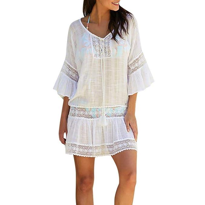 on sale 0655e aa95d VICGREY-Copricostume Mare Donna Estate Camicia Cover Up Cardigan Donna  Vestiti Spiaggia Abito Donna Lungo Elegante Vestiti Vestito Costumi da  Bagno ...