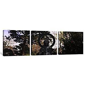 """iCanvasART 3 Piece Statue of Buddha in a Park, Japanese Tea Garden, Golden Gate Park, San Francisco, California, USA Canvas Print by Panoramic Images, 48 x 16""""/0.75"""" Deep"""