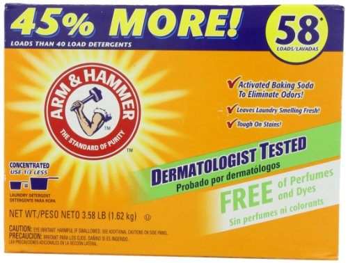 Arm & Hammer Powder Laundry Detergent, 58 Loads, Free of Perfumes and Dyes, 3.58 Pounds