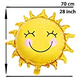 10pcs 28 inch Sunshine Sun Smile Face Shaped Foil Mylar Balloons Helium Balloon Happy Birthday Sunny Summer Day Theme Party Supplies Wedding Decorations