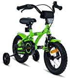 PROMETHEUS Kids bike 12 inch Boys and Girls in Blue & Black with stabilisers | Aluminum Calliper brake and backpedal brake | including security package | as from 3 years | 12' BMX Edition 2018