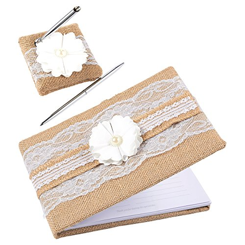 Personalized Silver Cover Guest Book - Wedding Guest Book, 40 Pages Guest Book with Pen and Holder, Jute Lace Rustic Hardcover, 9.8 x 6.5 x 1 Inches