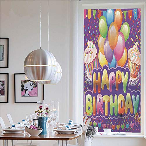 RWNFA 3D Window Films Privacy Film Static Decorative Film,Purple Backdrop with Creamy Cupcakes Hearts Confetti Rain Balloons(23