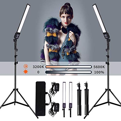 GIJUANRING 2 Packs Dimmable Bi-Color LED Video Light with Tripod Stand Bag Photography Lighting Kit for Camera Video Studio YouTube Product Photography Shooting,376 LED Beads, 3200-5500K,CRI 96+