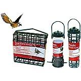 3 Hanging Bird Feeders Fatball Holder Suet Cage Wild Bird Seed Feeder Garden Nuts