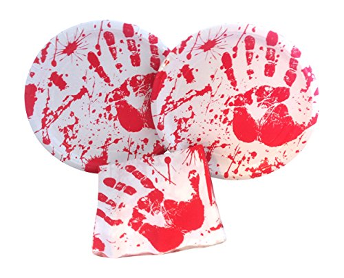 Bloody Handprint Halloween Party Bundle with Paper Plates and Napkins for 16 Guests for $<!--$7.99-->