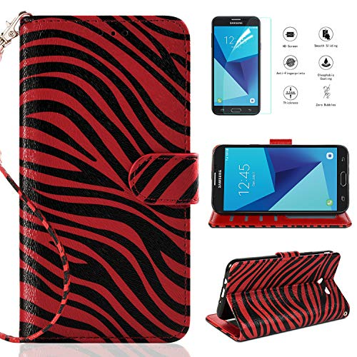 (Compatible with galaxy J7 Prime,J7 Sky Pro/J7 Perx/J7 V J7V/J7 2017/Galaxy Halo Case w[Screen Protector],[Kickstand] Leather with [Magnetic Closure] and [Wristlet Strap] Zebra Cover,Red)