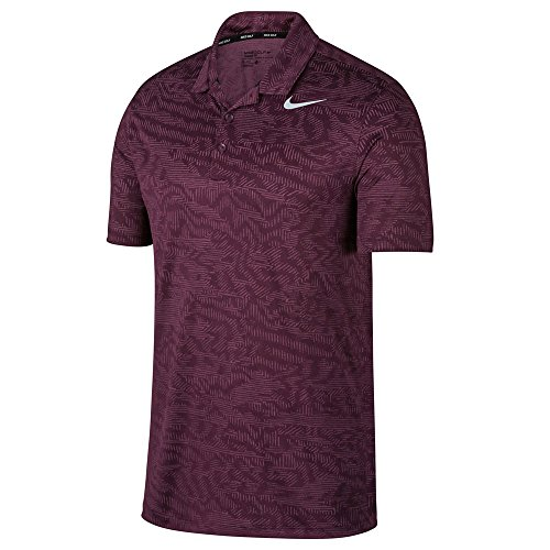NIKE Dry Fit Breathe Jacquard Golf Polo 2017 Bordeaux/White Large