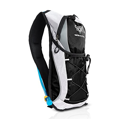 Water Buffalo Road Runner Hydration Backpack – 2L Hydration Pack And BPA Free Reservoir – Light, Hydration Pack With Purpose Built Storage For Running, Cycling,Mountain Biking And More (Black) (Light Roadrunner)
