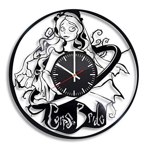 Corpse Bride Vinyl Clock, Victor Emily Corpse Bride Wall Art Room Kitchen Decor Handmade Party Supplies Theme Best Original Present Gift for Men Women Vintage Decoration]()