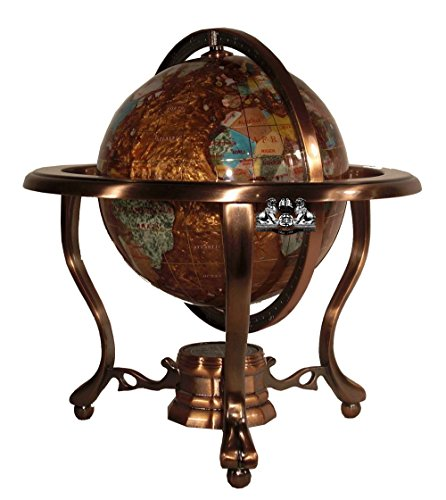 Unique Art 10-Inch Tall Table Top Amberlite Pearl Swirl Ocean Gemstone World Globe with Copper Tripod -