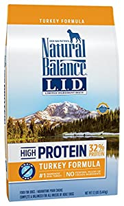 Natural Balance Limited Ingredient Diets High Protein Dry Dog Food, Turkey Formula, Grain Free, 12-Pound