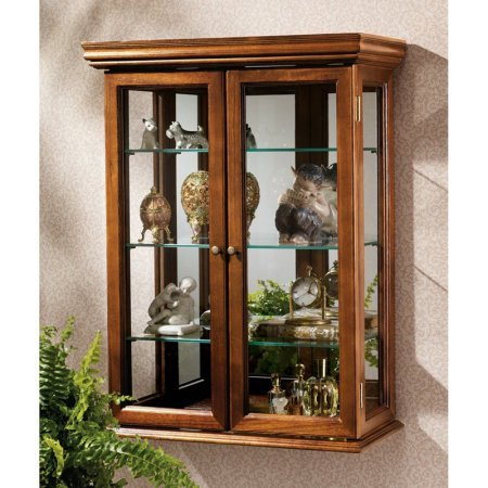 Tuscan Style Hardwood Wall Curio, Hand Finished, Glass Doors, 3 Glass Shelves, Glass Side Panels
