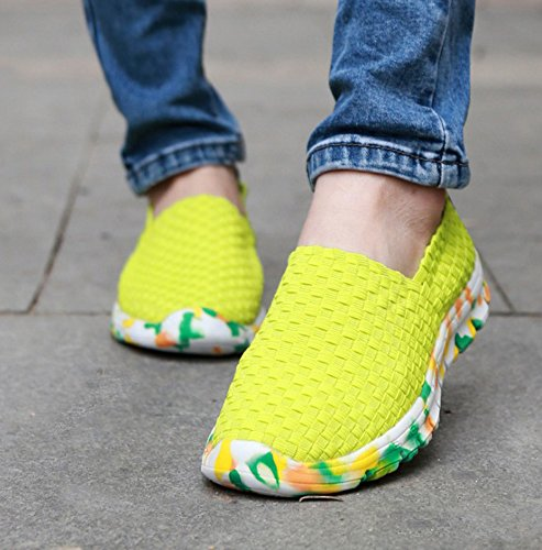 Huateng Unisex 2018 Spring Summer New Hand-Woven Shoes,Men's & Women's Fashion Lazy Shoes Green