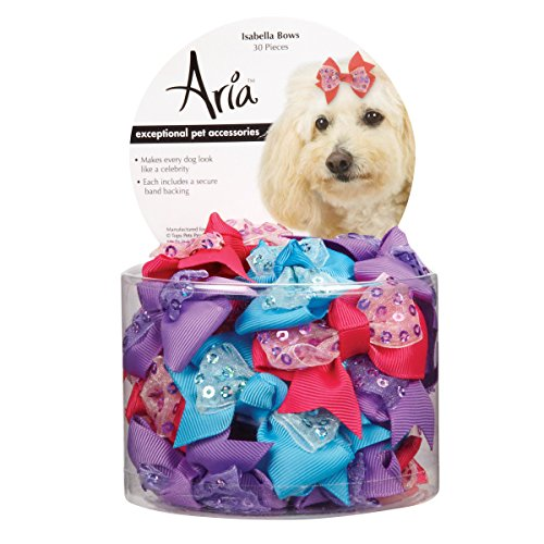 Aria Isabella Bows for Dogs, 30-Piece Canisters