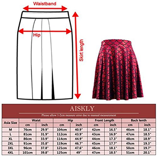 AISKLY Fish Scales Skirts Women Casual Cute Above Knee Mini Flared Skater skirt, YL-2001, Large by AISKLY (Image #7)