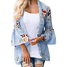 Todaies Women Lace Floral Open Cape Casual Coat Loose Blouse Kimono Jacket Cardigan