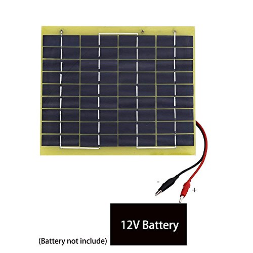 ECO LLC 5W 12V Waterproof Epoxy Solar Panel Module Battery Charging With Battery Clips Fit for Outdoors by ECO LLC