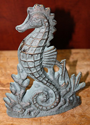 Cast Iron Nautical Seahorse Doorstop Garden Statue Home Decor Book End