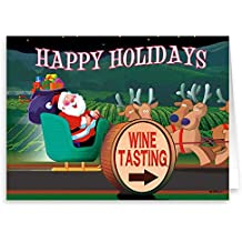 Santa Looks Happy Wine Tasting Christmas Card - 18 Wine Theme Christmas Cards & Envelopes