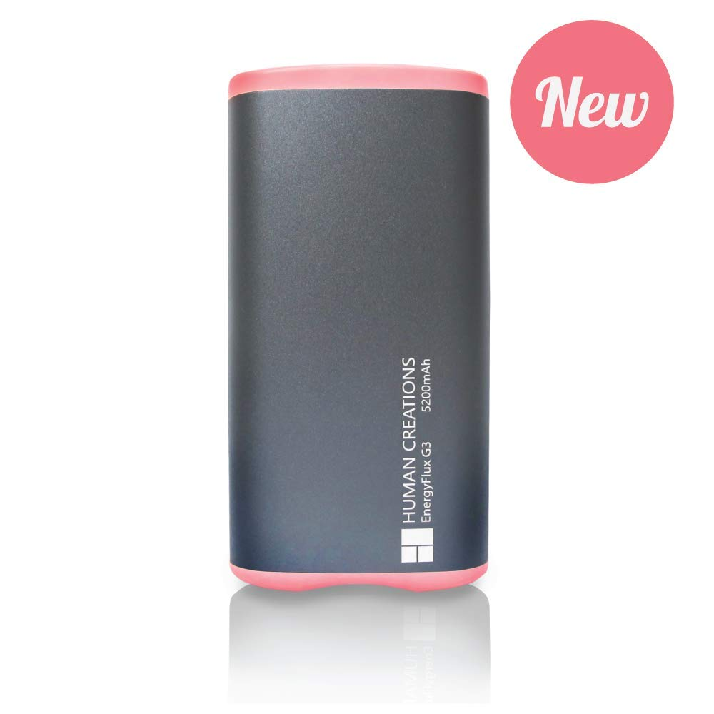 Human Creations EnergyFlux G3 Rechargeable Hand Warmer - Electric Hand Warmer with Powerbank - Wrap-Around Hot Pocket Warmer - Warm Hands for Men and Women (Pink, 5200mAh) by Human Creations