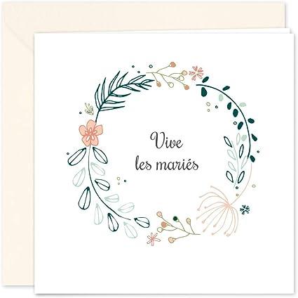 1 Carte De Félicitations Mariage Avec 1 Enveloppe Format 14x14 Cm Plié Intérieur Vierge Pour écrire Design Original Et Elegant Popcarte
