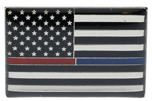 Thin Blue Red Line USA Flag Pin Silver tone Hat or Lapel Pin (Police Hat Pin)