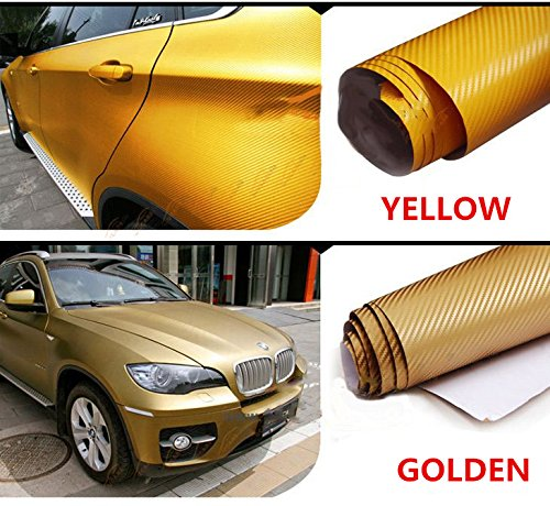 F & B LED LIGHTS Golden 3D Carbon Fiber Film Twill Weave Vinyl Sheet Roll Wrap (120'' X 60'', Golden) by F & B LED LIGHTS (Image #2)