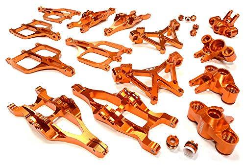 (Integy RC Model Hop-ups C25958ORANGE Billet Machined Suspension Set for Traxxas 1/10 T-Maxx/E-Maxx 3903/5/8, 4907/8)