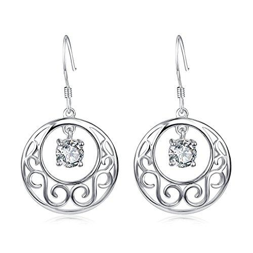 YFN Moon & Star 925 Solid Sterling Silver Filigree Teardrop Dangle Drop Earrings (Moon&Star)