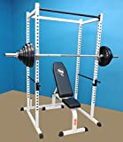 Super Power Squat Rack (H-92563W), 300 lb Olympic Set (consist of 32 mm thick 1000 lb rated Chrome plated Olympic Bearing bar, 255 lb Olympic plates with Deluxe Steel Collars) with Flat/Incline Bench