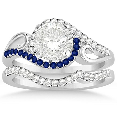 Bypass Halo Diamond and Blue Sapphire Engagement Ring Setting and Contour Wedding Band 18k White Gold 0.36ct