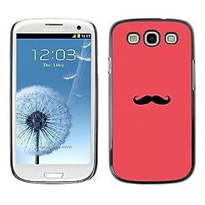 Bigote Rosa Rojo Hipster minimalista - Metal de aluminio y de plástico duro Caja del teléfono - Negro - Samsung Galaxy S3