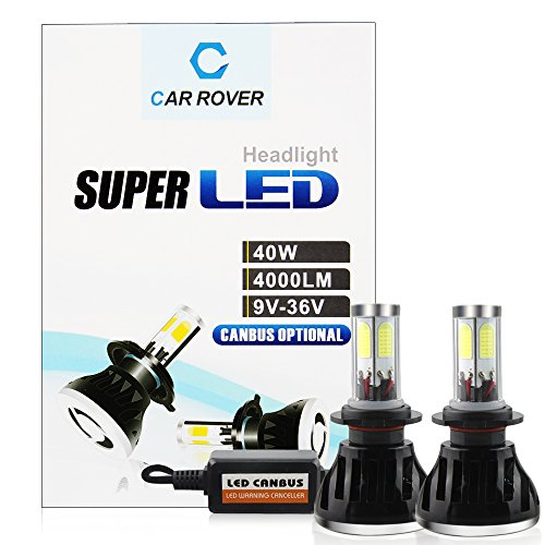 CAR ROVER H7 40W 8,000LM(4000LM Each Bulb) 6,000K CREE LED Headlight Conversion Kit Super Bright Cool white Lamp Light Bulbs with No Error CanBus Technology