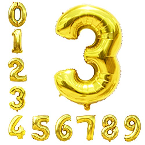 Gold Number Balloons 40inch Helium Birthday Balloons Foil Mylar Digital Balloons for Birthday Engagement Wedding Bridal Shower Anniversary of 2019 BALLOON (3)]()