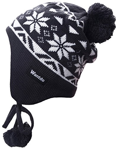 Wantdo Adult Flap Ear Hat Snowflake Patterned Printed Caps for Riding Anthracite White