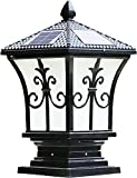 The Stylish Extra Large Solar Post Cap Lights or Solar Pillar, Diameter: 9.45 Inch; Height: 17.7 Inch. Solar Powered Post Caps. Solar Post Cap (Black)