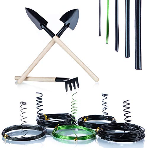Bonsai Wire Premium Pack- 5 Rolls 144 Toes Plant Wire Bonsai Anodized Aluminum Black Inexperienced Rust Resistant and three Pcs Mini Wood Backyard Instruments Rake Shovel Spade for Newbies and Professionals